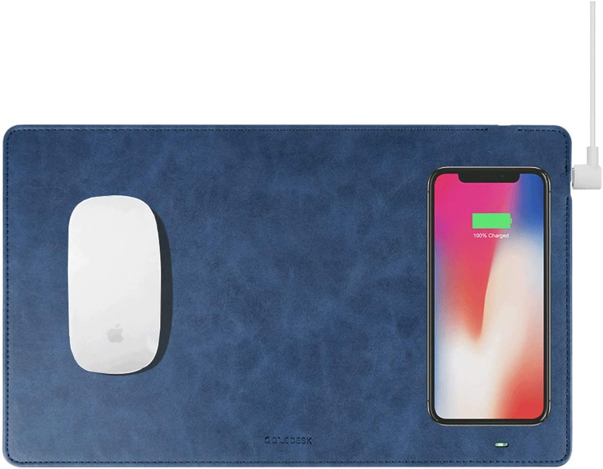 Gaze PAD Qi Wireless Fast Charging Mouse Pad Mat for iPhone 11 X iPhone 8 Galaxy S9 S10 S20 Plus Samsung Note 8 9 10 (Midnight Blue)