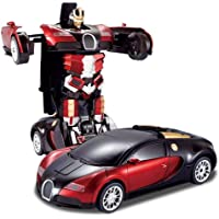 Tec Tavakkal® Latest Power Battery Operated Converting Car to Robot, Robot to Car,Transformer Toy, with Light and Sound for Kids Robot Car - Red and Blue