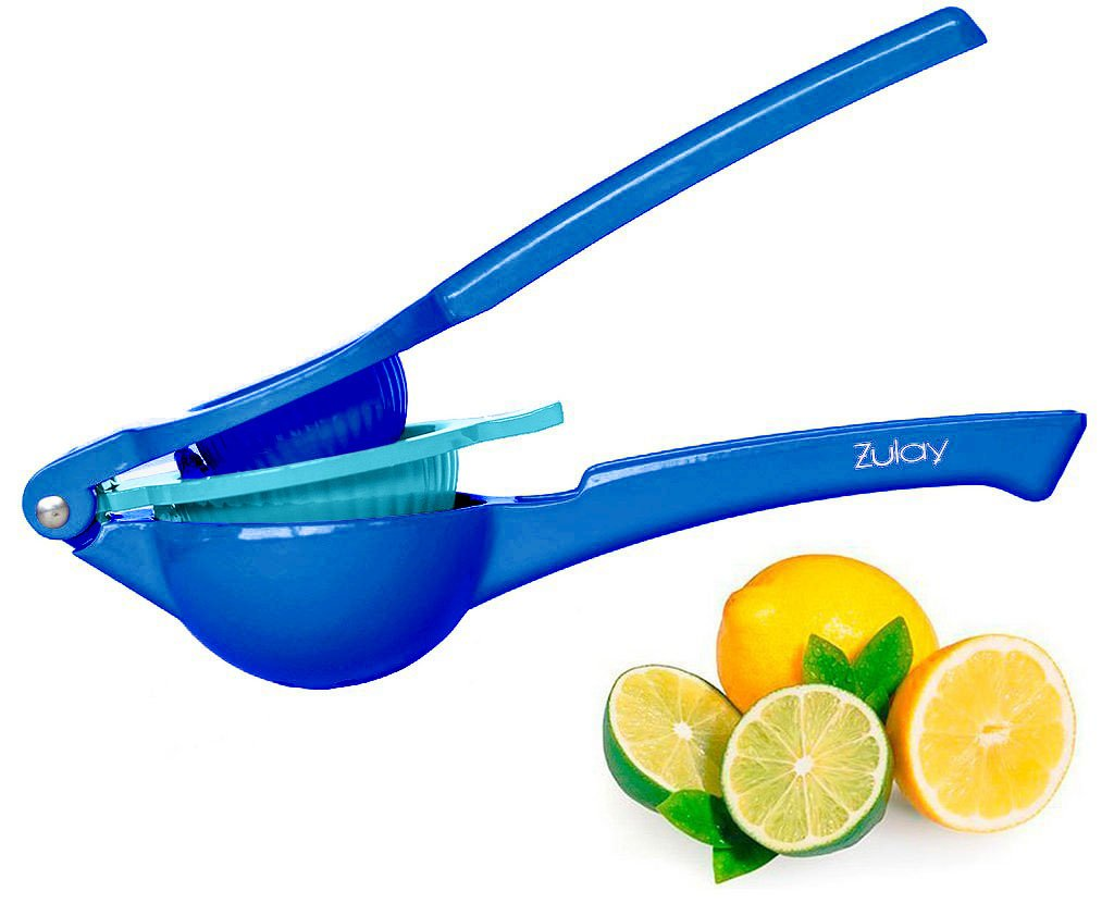 Top Rated Zulay Premium Quality Metal Lemon Lime Squeezer - Manual Citrus Press Juicer (Lightning Blue)