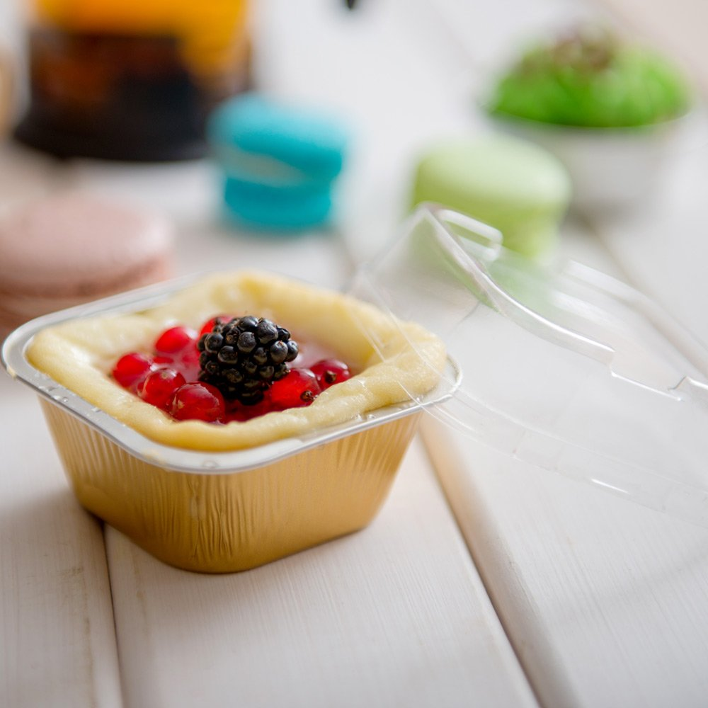 Premium 3.4-OZ Baking Cups with Lids - Square Foil Baking Cups & Lids Perfect for Fancy Desserts or Mini Snacks - Gold Cup with Clear Lid - Oven & Freezer Safe - Recyclable - 100-CT by Restaurantware (Image #3)