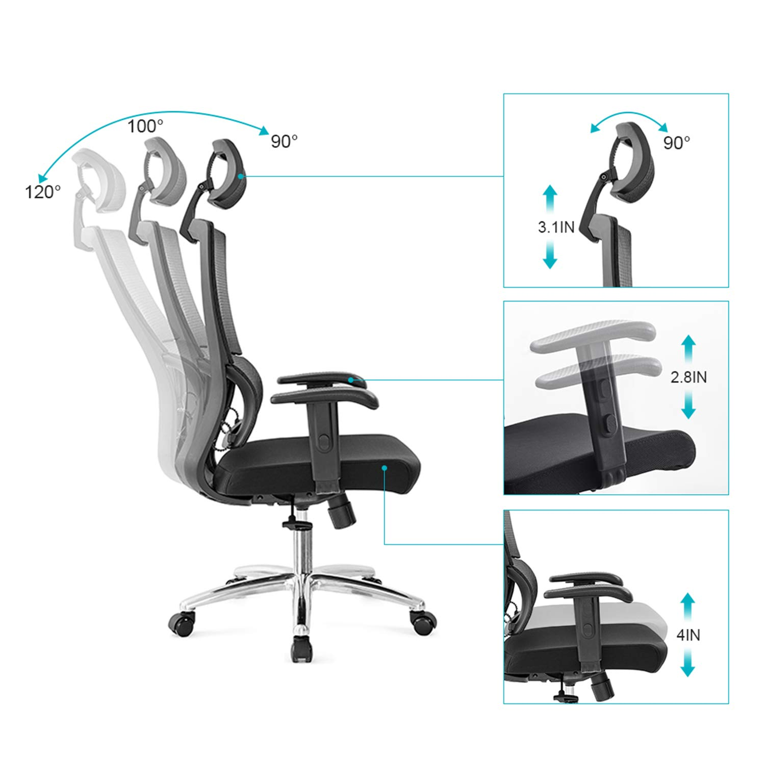 Ticova Ergonomic Office Chair with Unique Elastic Ring Lumbar Support and Thick Seat Cushion- High Back Mesh Chair with Adjustable Headrest and Armrest - Reclinable Computer Desk Chair by Ticova (Image #3)