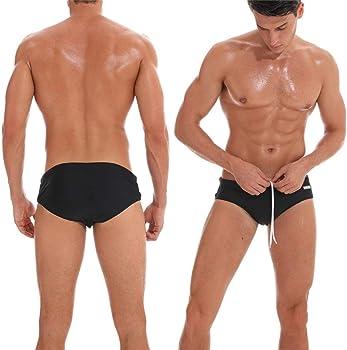 Arcweg Mens Swimming Trunks Briefs Low Waist with Removable Pad Swimwear Elastic Beach Shorts Boxers Underwear