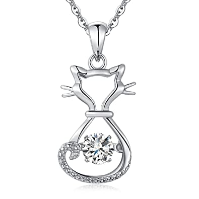 618b84e87 Dancing Necklace Dancing Diamond Necklace CZ Dancing Cat Necklace Unique Dancing  Pendant Necklace Dancing Stone Necklace
