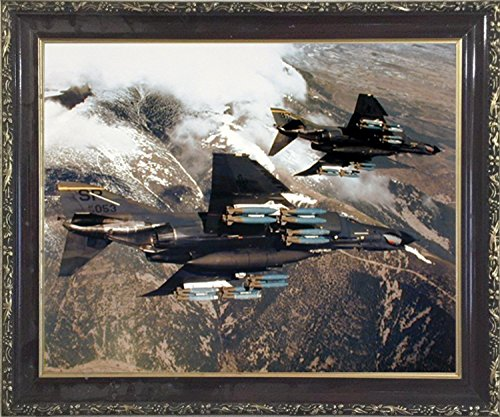 Impact Posters Gallery Aviation Framed Poster - F-4E Phantom with Missiles Military Jet Vintage Wall Decor Mahogany Art Print ()