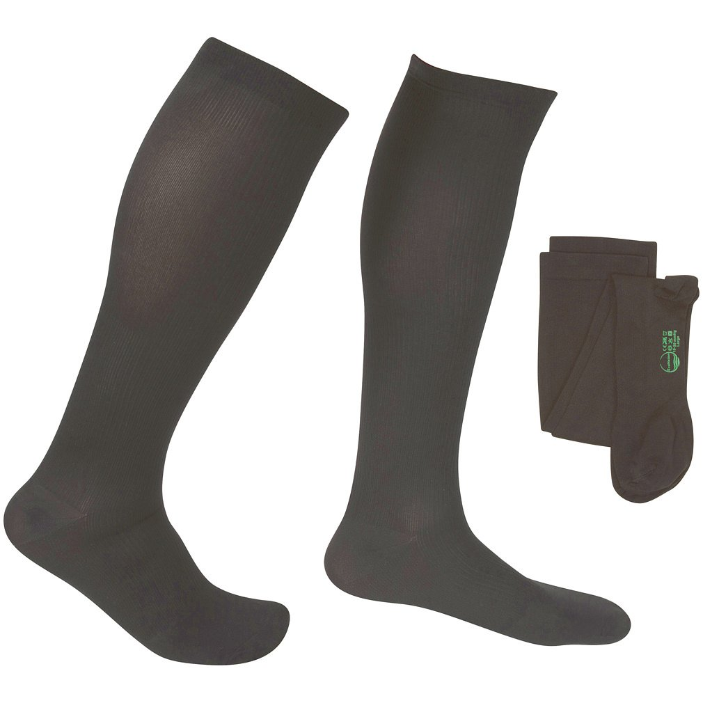 EvoNation Men's USA Made Graduated Compression Socks 20-30 mmHg Firm Pressure Medical Quality Knee High Orthopedic Support Stockings Hose - Best Comfort Fit, Circulation, Travel (Large, Gray) by EvoNation (Image #1)