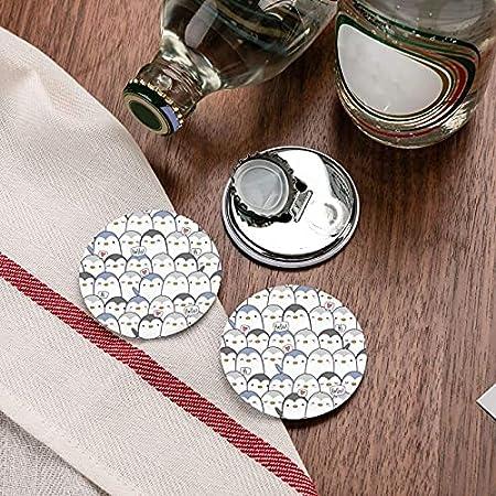Lindo pingüino abridor de botellas redondo / imanes de nevera sacacorchos de acero inoxidable pegatina magnética 2 piezas
