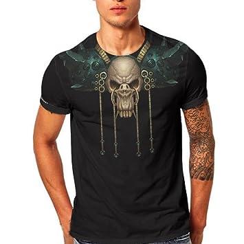 LuckyGirls Camisetas Hombre Verano Manga Corta Originales 3D Estampado de  Cráneo Moda Polos Remera Casual Camisas 590d4042a6b82