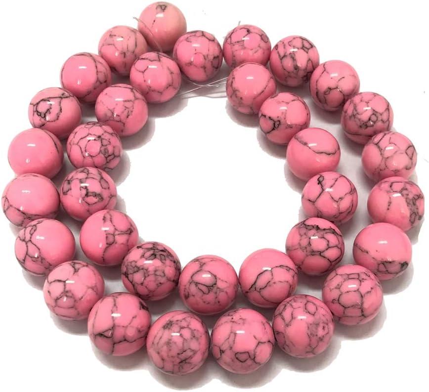 Skyllc® 12mm Perlas de Turquesa Rosa Ronda Suelta Cuentas de Piedra Piedras Preciosas fabricación de Joyas para DIY Collares Pulseras Pendientes