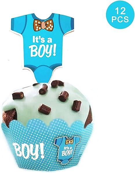 Amazon Com Gender Reveal Cupcake Topper 24pcs Art Focus Cupcake