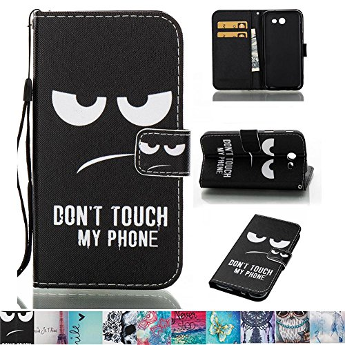 J3 Emerge Case, J3 2017 Case, Galaxy J3 Prime Case, Firefish PU Leather Wallet Case [Card Slots] [Kickstand] with Strap Magnetic Clip Case for Samsung Galaxy J3 Prime/J3 2017/J3 Emerge -Eyes Few Basic Stitches