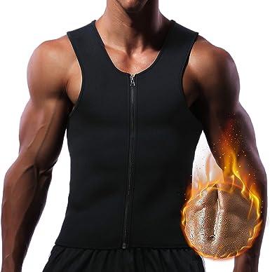 Men/'s Fat Burning Workout Vest Zipper Tummy Compression Sauna Waist Body Shapers