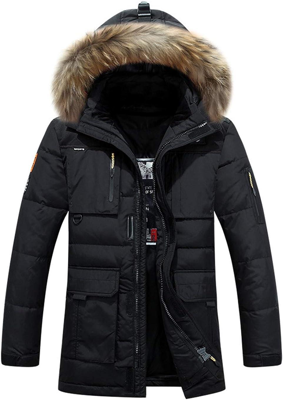 KOESON Men/'s Casual Windproof Long Sleeve Down Coat Winter Leisure Thermal Jacket with Fur Hood