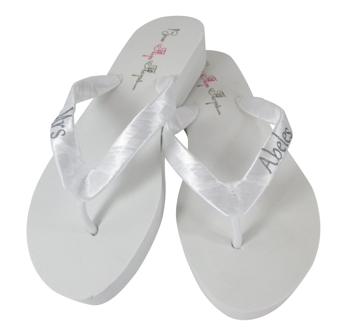 a42569ec5b2 Amazon.com  Cute Silver and White Personalized Flip Flops for Bride s  Wedding Reception Shoes  Handmade