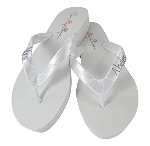 790f8df46 Image Unavailable. Image not available for. Color  Cute Silver and White  Personalized Flip Flops for Bride s Wedding Reception Shoes