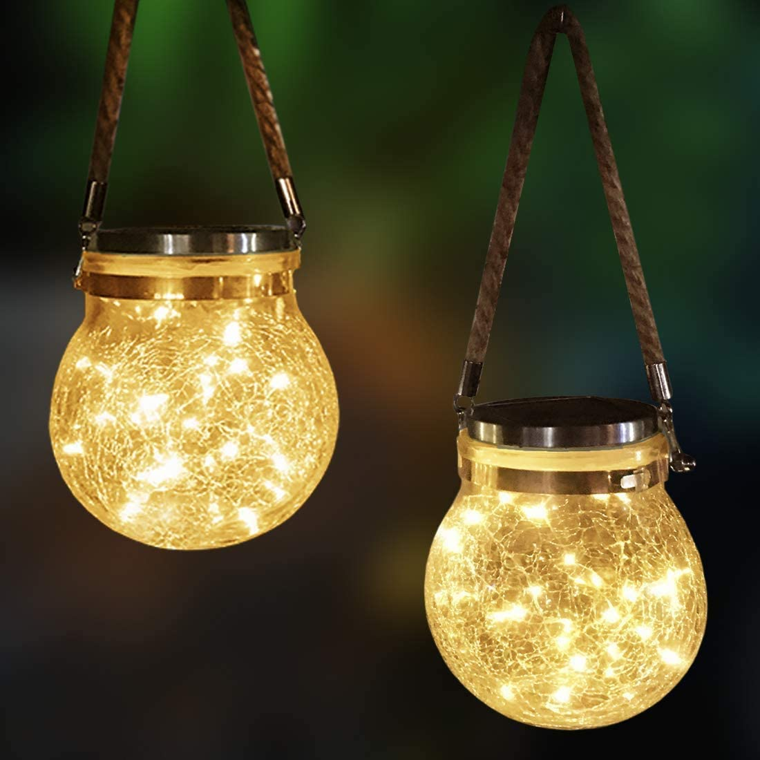 Mafiti 20 LEDs Hanging Solar Light Outdoor Jar Lid Lights, 2 Pack Led String Fairy Lights Solar Laterns Table Lights, Great Outdoor Lawn D coration for Yard Party