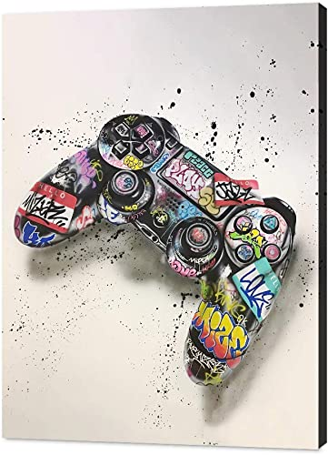 YONEYAN Wall Art Canvas Graffiti Game Console Splash Ink Background Gamepad