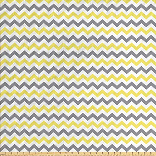 Lunarable Geometric Fabric by The Yard, Horizontal Chevron Pattern Zigzag Endless Simplicity Design Print, Decorative Fabric for Upholstery and Home Accents, 1 Yard, Yellow White (The Yard Fabric Zig By Zag)