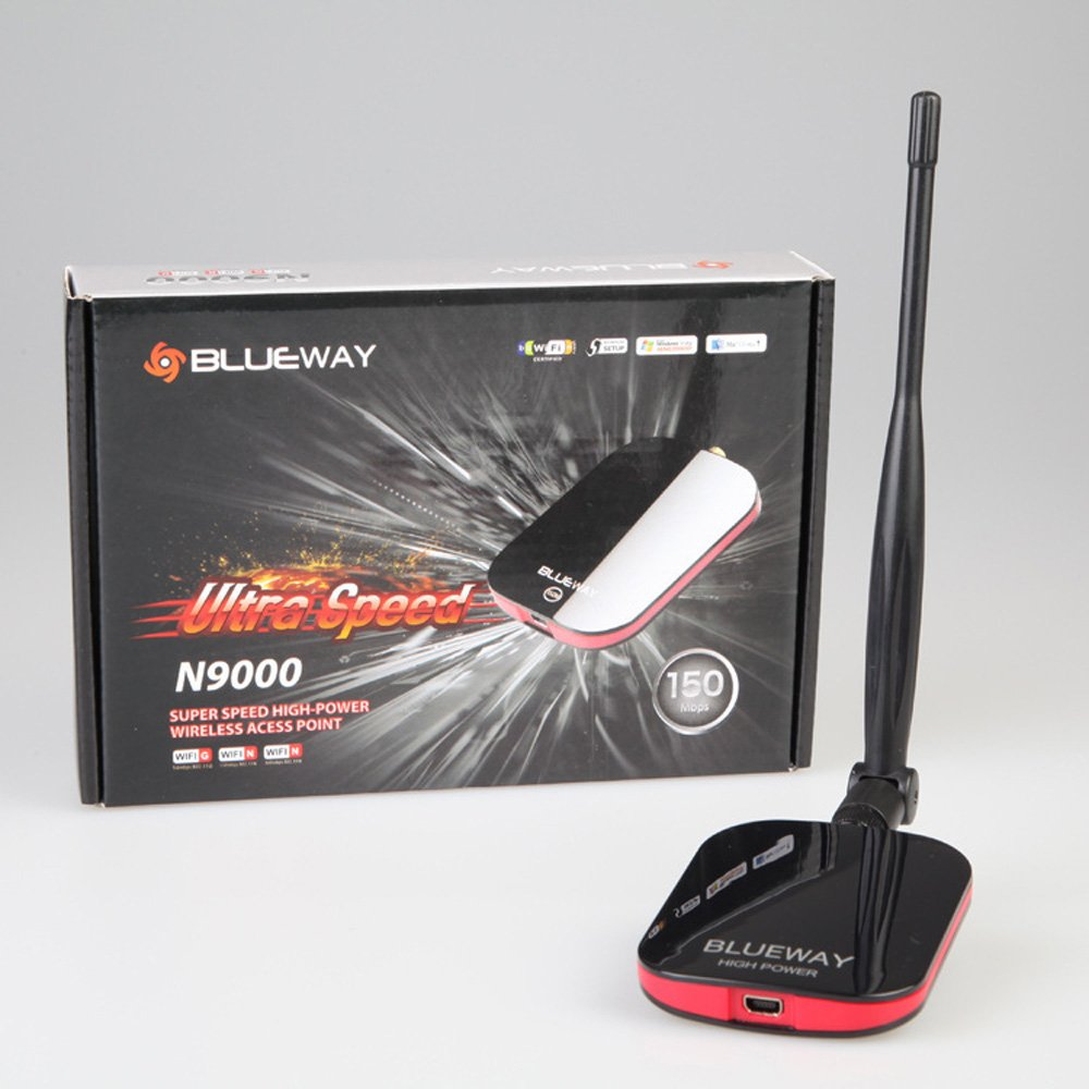 Blueway N9000 150Mbps USB Wireless Adapter 5dBi Antenna 1W High Power Wireless Network Card Wifi Signal Receiver for Desktop/Laptop