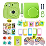 Fujifilm Instax Mini 9 Camera and Accessories Bundle- Kit Includes; Instant Camera, Instax Case, 4 Color Filters, Magnet Frames, 64 Pocket Photo Album, Selfie lens, 10 Hanging Frames, 60 Stickers