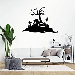 Creepy Wall Cutout Graveyard Wall Decals,Removable Wall Stickers,Motivational Quote Sticker Wall Decals,Wall Decor Stickers for Living Room Nursery Bedroom