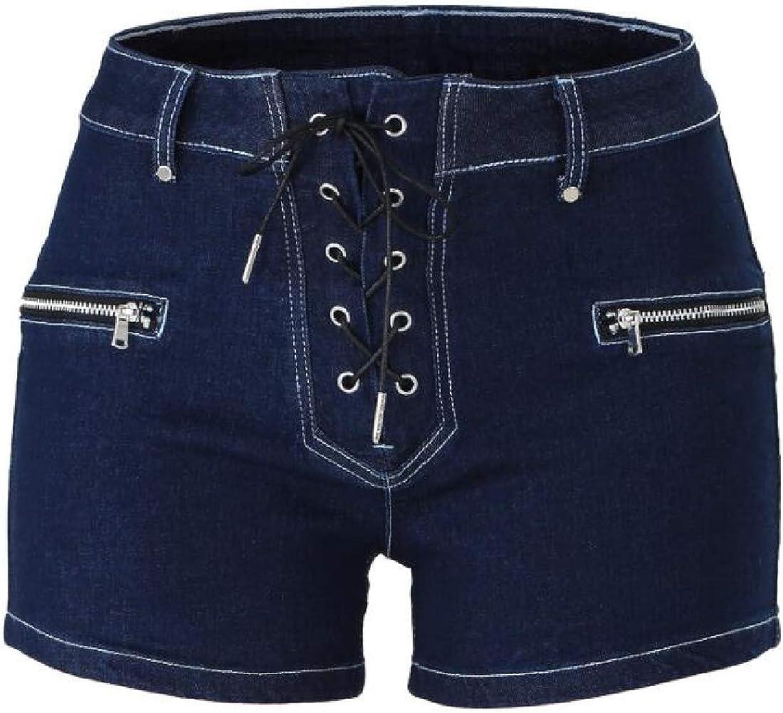 Mstyle Womens Mid Waist Shorts Slim Bodycon Full Zip Bandage Denim Shorts Jeans