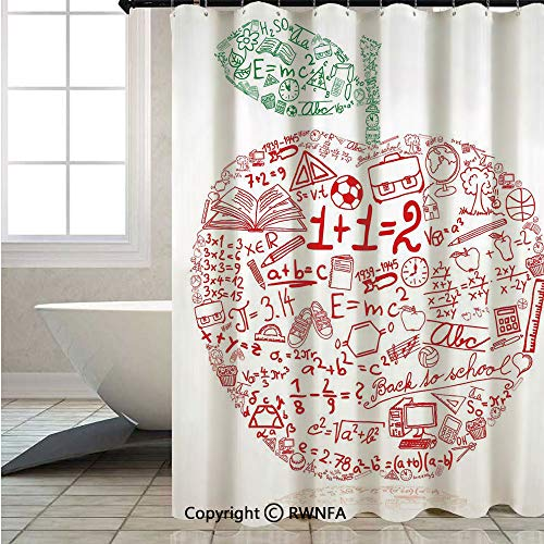 RWNFA Shower Curtains for Bathroom Shower,Apple-with-School-Symbols-Basic-Formulas-Exercise-Study-School-Theme-Decorative,W72xL78.7inch,Set with Hooks,Red-Forest-Green