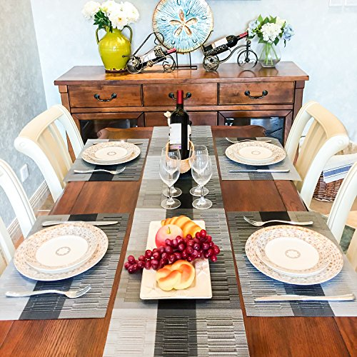 4x Placemats and 1x Table Runners - Set of 5 Washable Heat-resistant Non-slip Table Place Mats - Godten Woven Vinyl and Stain Resistant for Dining Wedding Banquet or Garden Party Decoration, 30x180cm (Sets Banquet Dining Table)