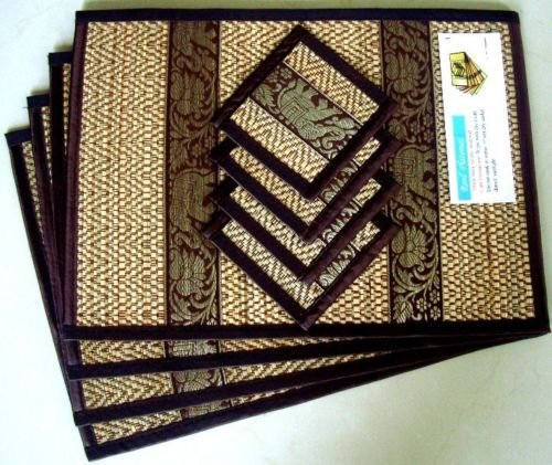 4 Thai Brown Elephant Silk and Reed Dining Table Mats & Drinks Coasters Placemat