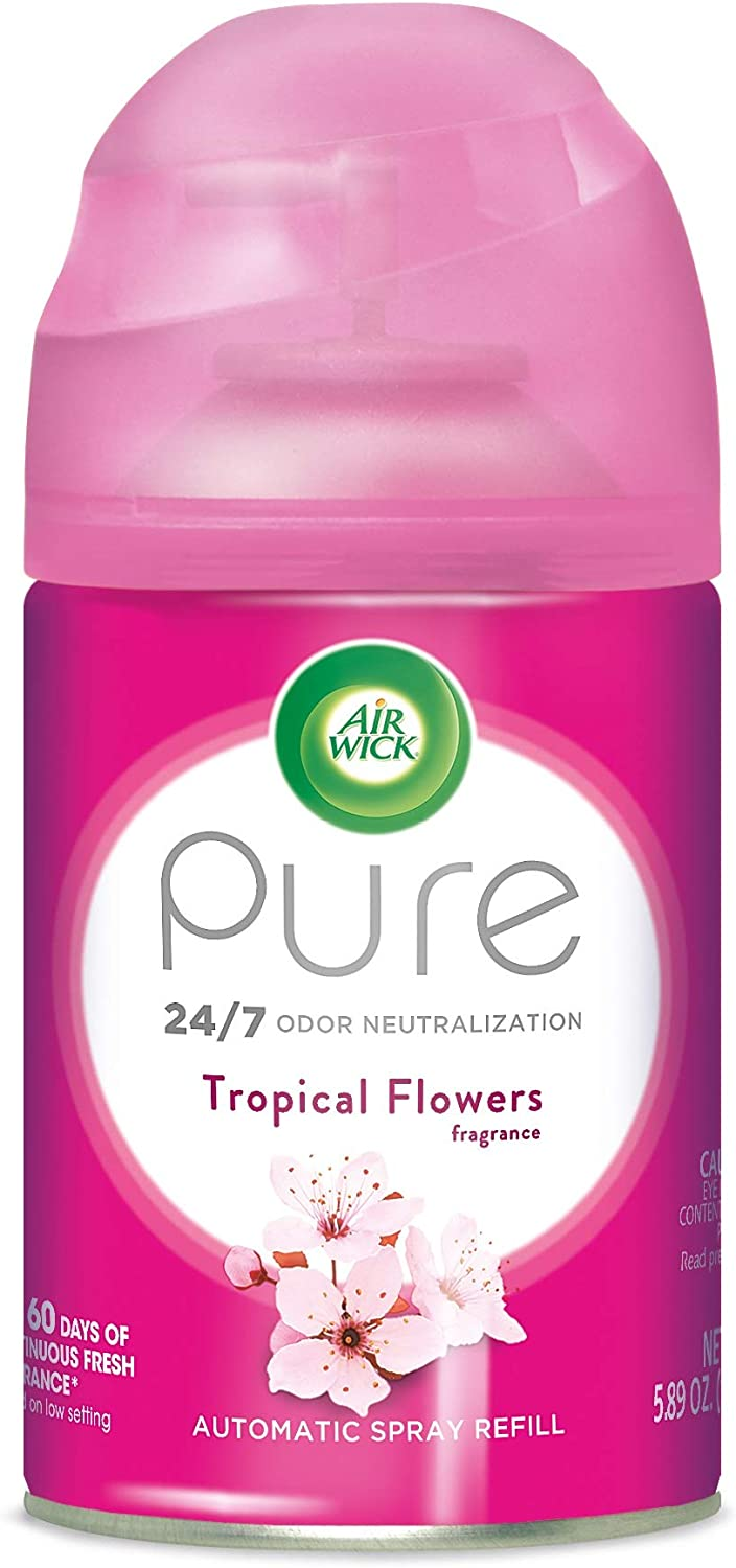 Air Wick Pure Freshmatic Refill Automatic Spray, Tropical Flowers, 5.89oz, Air Freshener, Essential Oil, Odor Neutralization, Packaging May Vary