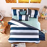 Stripes Blue Bedding Set Duvet Cover Pillow Sham Flat Sheet Teen Kids Boys Girls Bedding, Twin Size