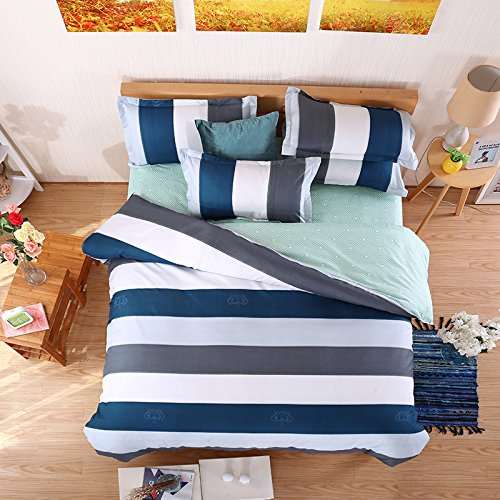 Stripes Blue Bedding Set Duvet Cover Pillow Sham Flat Sheet Teen Kids Boys Girls Bedding, Full/Queen Size