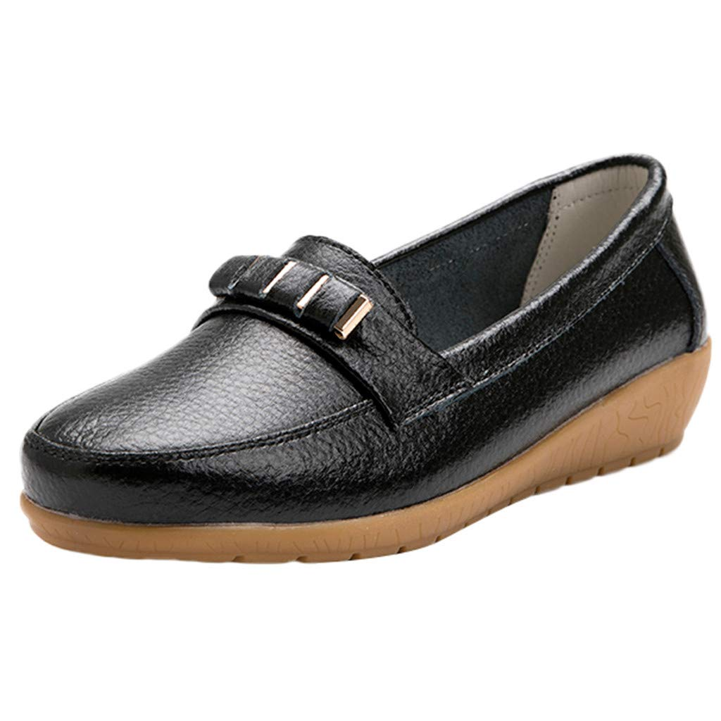 Sunyastor Women's Flat Shoes Leather Loafers & Slip-Ons Flats Driving Walking Casual Moccasins Soft Sole Shoes Black