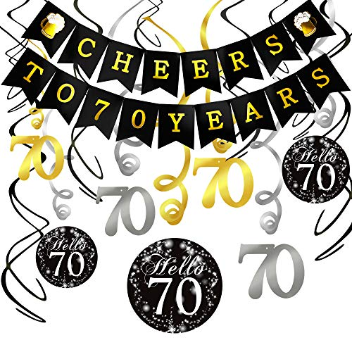 70th Birthday Decorations Kit- Konsait Cheers to 70 Years Banner Swallowtail Bunting Garland Sparkling Celebration 70 Hanging Swirls,Perfect 70 Years Old Party Supplies 70th Anniversary -