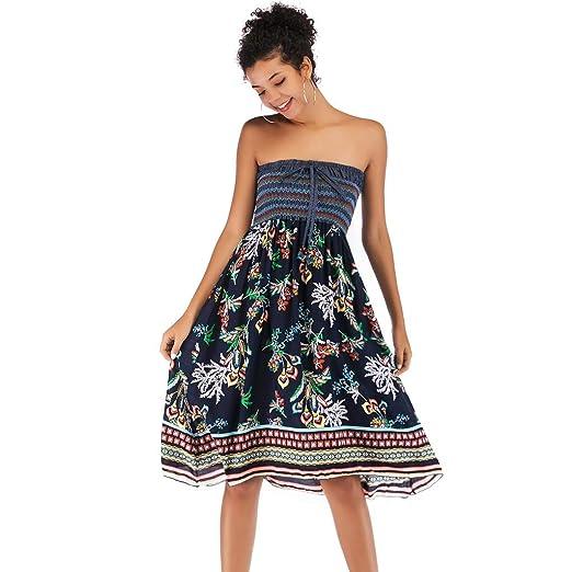 d6db2259d09ef Tube Dress Women Wear Both Strapless Dresses Boho Floral Printed Casual  Summer Sundress (Black,