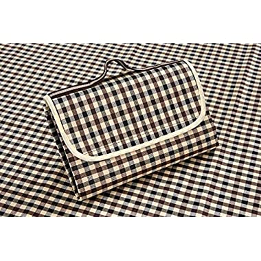 "FiveJoy Picnic Mat Blanket (Ivory Plaid) – Folds Out To 57"" X 78"", Folds Down To 8"" X 12"" – Water-Resistant Polyester Top, Water-Proof and Stains-Resistant PVC Underside Lining – Contemporary Color Palette – Easy to Clean, Easy to Carry, Easy to Store – Great for Beaches, Picnics, Outdoor Concerts and More"