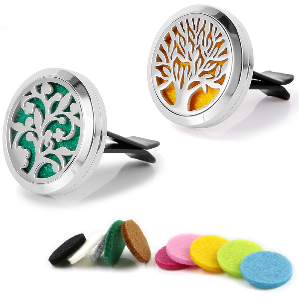 Maromalife Aromatherapy Car Diffuser Vent Clip Essential Oils Locket Silver Stainless Steel Tree of Life & Flower +20 Refill Pads