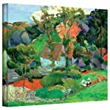 Paul Gauguin 'Landscape at Pont Aven' gallery-wrapped canvas is a high-quality canvas print of the landscape that gave its name to the Pont Aven School of post-Impressionist artists. It relies on a number of principles including the abandonment of fa...