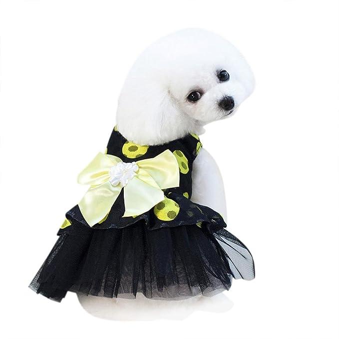 SunGren Falda para perro mascota, Bubble Bowknot Dot Dress Falda para perro Summer Falda redonda de hilo para perro mascota(S,Amarillo): Amazon.es: ...