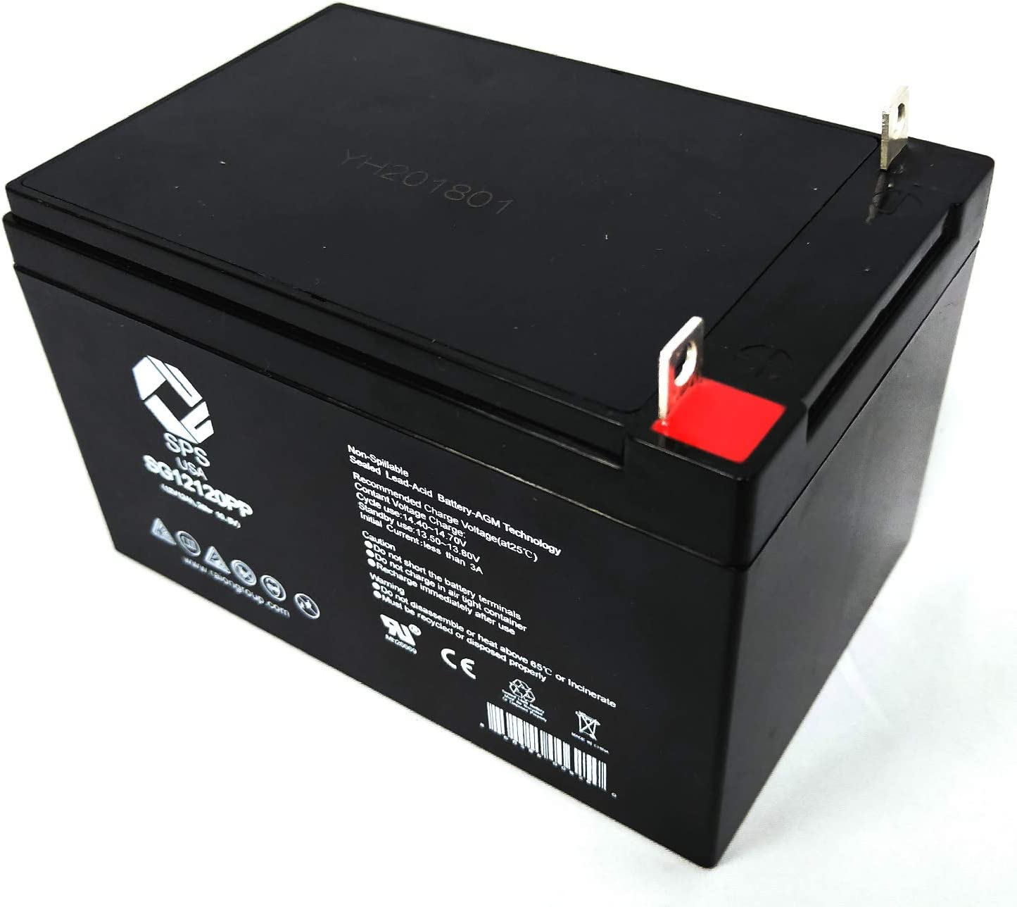 SPS Brand 12V 12Ah Replacement Battery for Diehard SCH12-12C-6 Pack 1