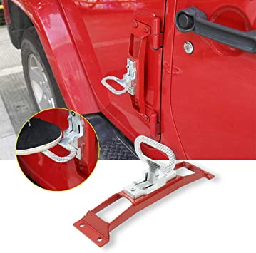 Amazon Com Jecar Jeep Doorstep Foot Pegs Metal Folding Step Ladder Door Hinge Foot Pedal Easy Access To Car Rooftop For 2007 2017 Jeep Wrangler Jk Unlimited Red Automotive
