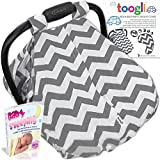 Baby Carseat Canopy by Toogli (gray & white chevron) - Best Infant Car Seat Cover for Boys, Girls|Fits all Major Brands - Graco, Britax, Safety 1st, Chico, Evenflo, Peg-Perego
