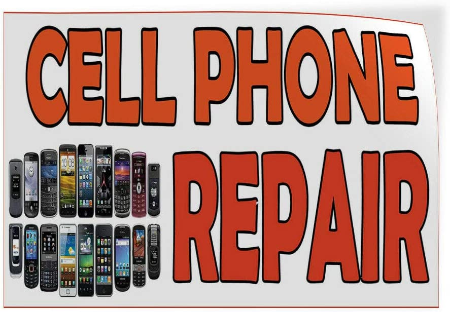 Decal Sticker Cell Phone Repair White Orange Retail Cell Phones Store Sign-40inx26in
