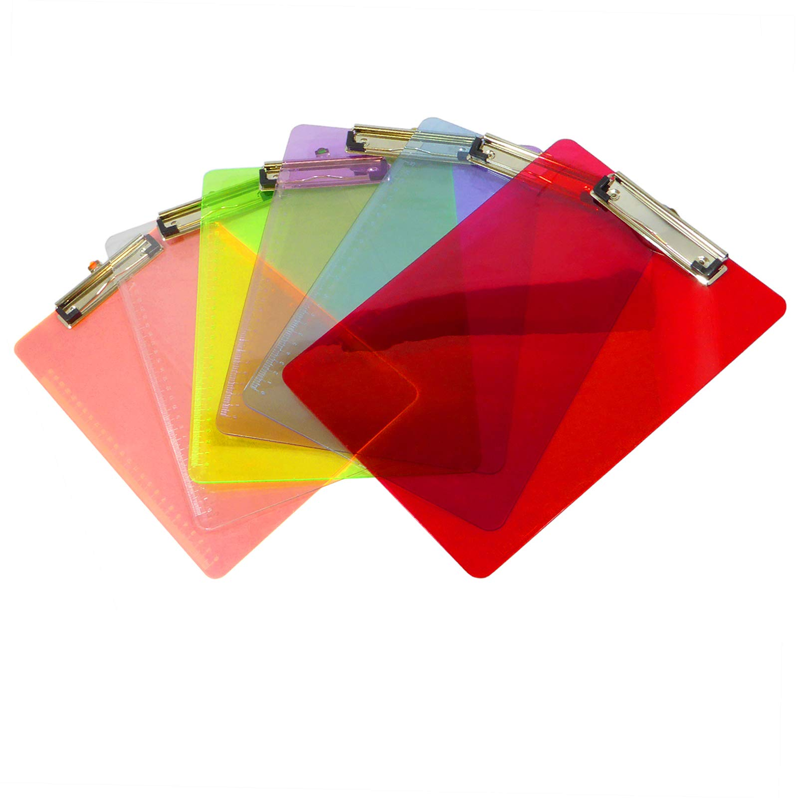 Colorful Clipboards with Ruler inches and Centimeter Scales | Multi Color Fun Pack | Transparent and Standard Size Low Profile Clip | Office, School, Outside Use (6 Pack)