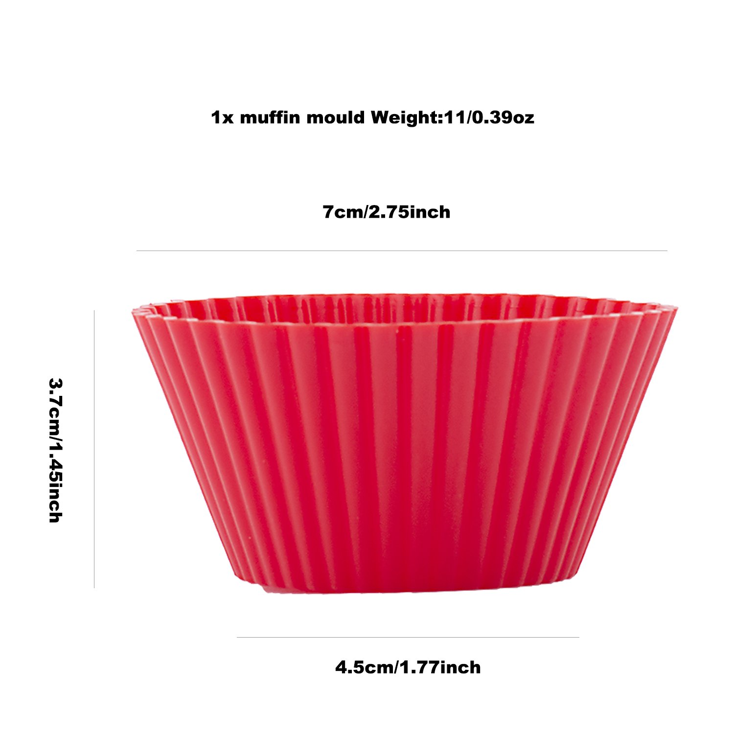 Red Cupcake Cases Silicone Muffin Trays 12 Round Muffin Tray 7cm beicemania/® Gift Pack