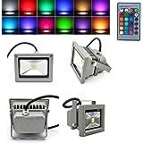 MVPower® 2 St. 10W RGB LED Strahler Wasserdicht IP65 In- und Outdoor Grau Gehäuse mit Fernbedienung Memory Funktion Farbwechsel LED-Fluter Scheinwerfer Außenbeleuchtung