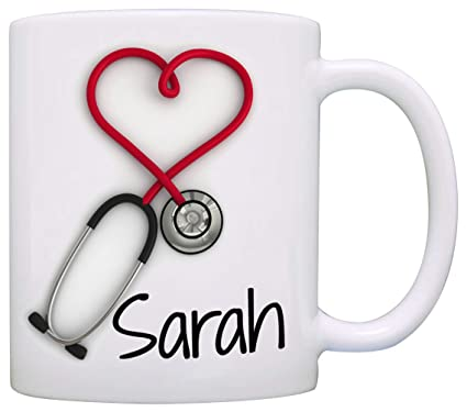 Amazon.com: Personalized!! Stethoscope Coffee Mug, a Funny and Unique Gift for Nurses and Doctors, Printed on Both Sides!: Kitchen & Dining