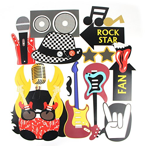 Rock Star Party Photo Booth Props Party Decorations Like a Rockstar Rock&Roll Metallic Music Theme Party Decorations Jazz Music Theme Selfie Costume Decorations Accessories 18 Pieces ()