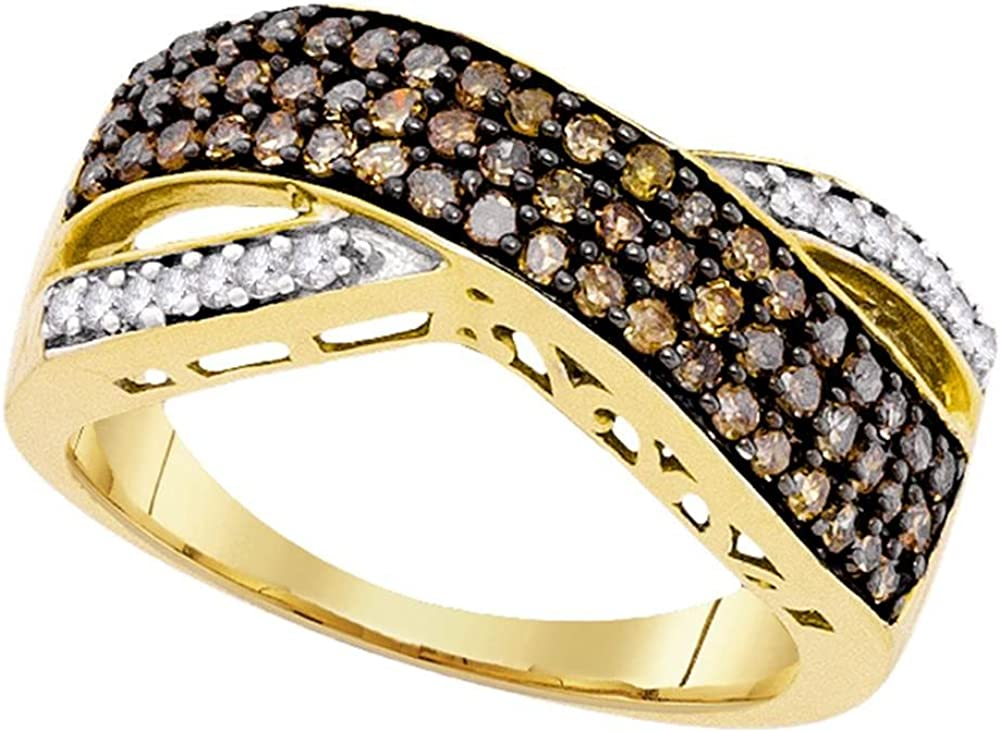Sonia Jewels 10k Yellow Gold Round Chocolate Brown Diamond Crossover Band Ring (3/4 Cttw)