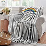 PearlRolan Bed Blanket,Vintage Rainbow,Old TV with Raining Clouds on Antennas Broadcast Entertainment Technology,Multicolor,