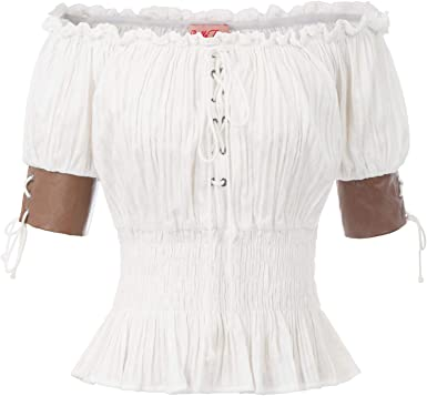 Belle Poque Top Mujer Steampunk Blusa Victoriana Medieval Top Retro Vintage 98% ALGODÓN